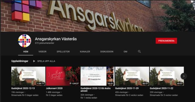 Ansgarskyrkans Youtubekanal